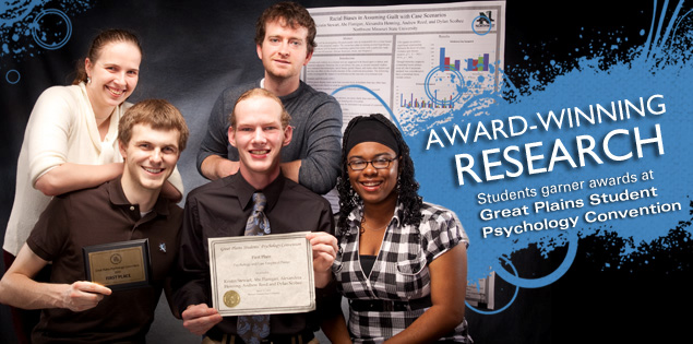 Award-winning Research: Students garner awards at Great Plains Student Psychology Convention.