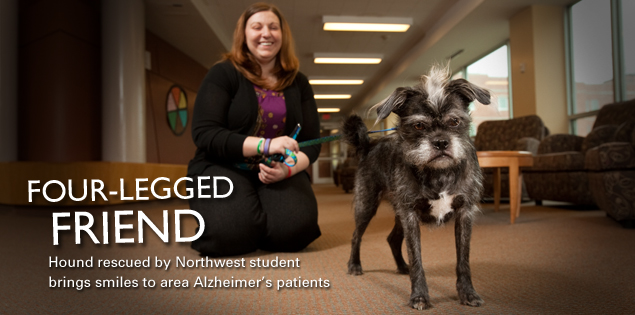 Four-Legged Friend: Hound rescued by Northwest student brings smiles to area Alzheimer's patients