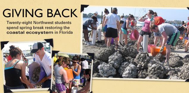 Giving Back: Twenty-eight Northwest students spend spring break restoring the coastal ecosystem in Florida