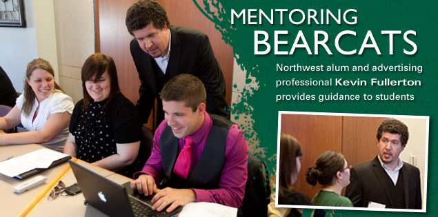 Mentoring Bearcats: Northwest alum and advertising professional Kevin Fullerton provides guidance to students