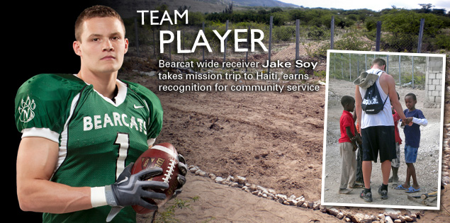 Team Player: Bearcat wide receiver Jake Soy takes mission trip to Haiti, earns recognition for community service