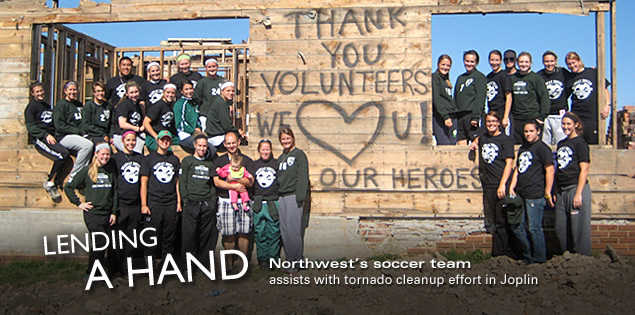 Lending a Hand: Northwest's soccer team assists with tornado cleanup effort in Joplin