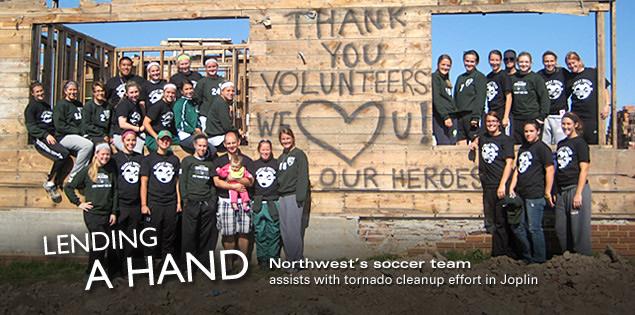 Lending a Hand: Northwest's soccer team assists with tornado cleanup effort in Joplin